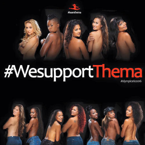 Photo: Well known Trinidad and Tobago personalities Nikki Crosby, Fay-Ann Lyons Alvarez, Penelope Spencer, Maylee Attin-Johnson, DJ Dani, Crystal Cunningham and Sophie KMW pose topless in support of Trinidad and Tobago gymnast Thema Williams. (Copyright Gary Jordan)