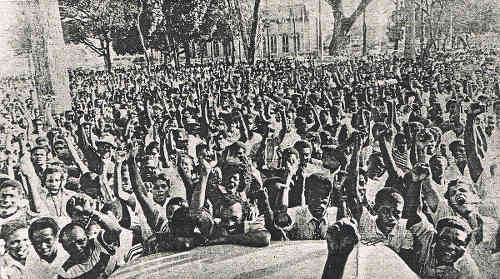 Photo: A demonstration at Woodford Square during the Trinidad and Tobago Revolution of 1970.
