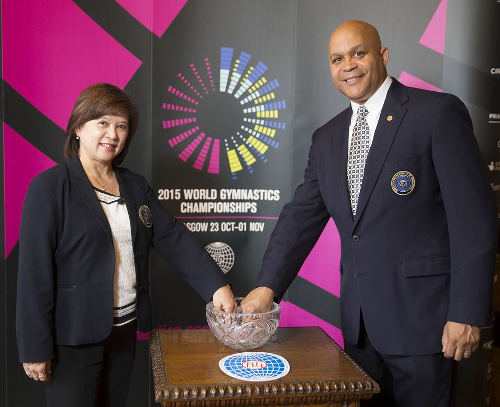 Photo: FIG men's and women's technical committee presidents Steve Butcher (right) and Nellie Kim at the draw for the Glasgow 2015 World Gymnastics Championship.