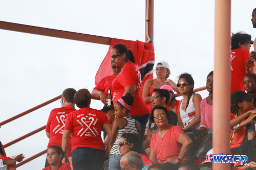 Photo: Hockey fans support the Trinidad and Tobago team in their opening fixture of the 2016 Women's Junior Pan American Championship in Tacarigua on Thursday 21 March 2016. (Courtesy Nicholas Bhajan/Wired868)