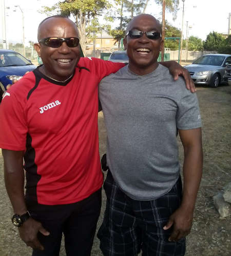 Photo: Former Trinidad and Tobago technical director Kendall Walkes (left) and friend Ted Willis. (Courtesy Kendall Walkes)