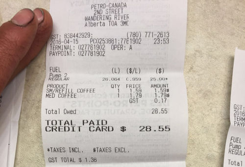 Photo: Hannifer Dick's gas receipt on 14 April 2016. The 2nd Street station in Wandering River was 204 km away from the Fort McMurray meet that the Dicks attending that day. (Courtesy Hannifer Dick)
