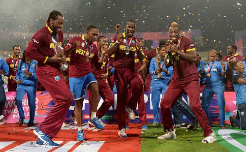 Photo: West Indies cricket players (from left) Chris Gayle, Dwayne Brave, Darren Sammy and Andre Fletcher celebrate after their 2016 World Twenty20 Championship final win over England. (Copyright ESPN)
