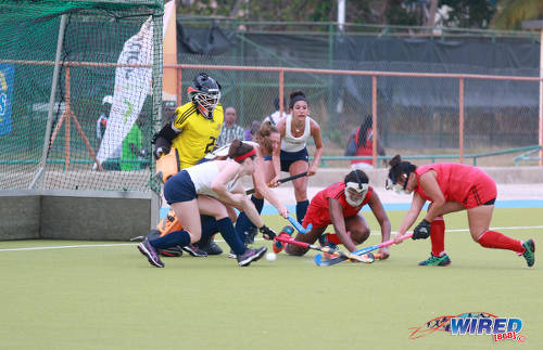 Photo: The Trinidad and Tobago Women's National Under-21 hockey team defend a penalty corner against the United States during their opening fixture of the 2016 Women's Junior Pan American Championship in Tacarigua on Thursday 31 March 2016. (Courtesy Nicholas Bhajan/Wired868)
