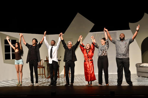 "Photo: The cast of Raymond Choo Kong's ""First Instinct"" salute the audience after their play at Central Bank."
