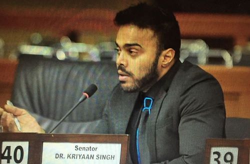 Photo: Temporary Independent Senator Dr Kriyaan Singh.