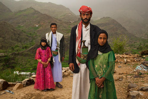 Photo: Child brides and their husbands in Yemen.