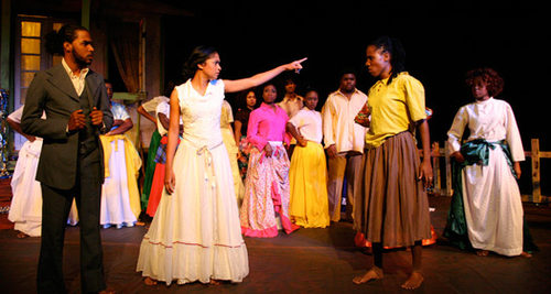 Photo: A scene from Efebo Wilkinson's play, Bitter Cassava. (Courtesy Theatrebuzzcallboard)