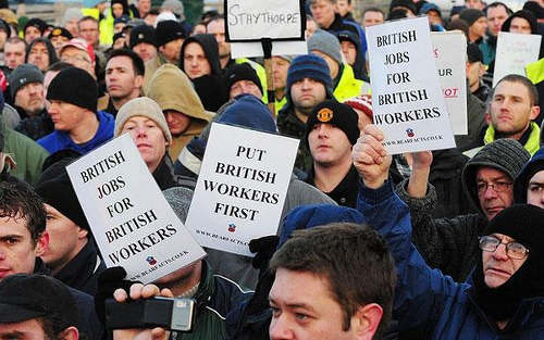 Photo: British citizens protest unemployment issues. (Copyright UK Telegraph)
