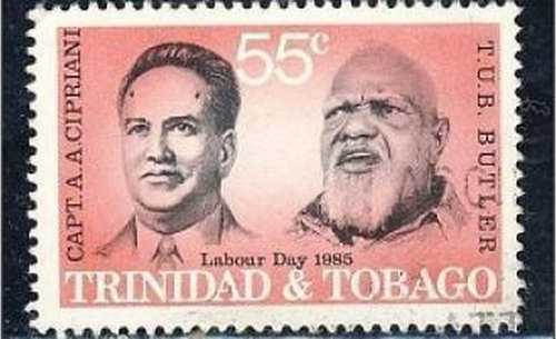"Photo: A Labour Day stamp depicts late labour leaders Tubal Uriah ""Buzz"" Butler (right) and Arthur Andrew Cipriani. (Courtesy IRCP.Gov.TT)"