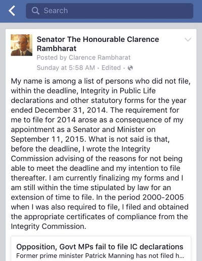Photo: Minister of Agriculture Clarence Rambharat explains his failure to file his declarations in 2014.