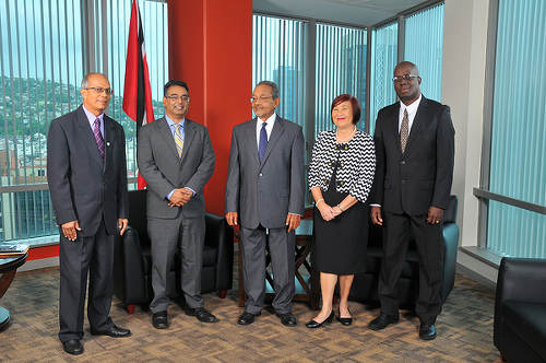 Photo: Integrity Commission members (from left) Deonarine Jaggernauth, Rajiv Persad, Dr Zainool Hosein. Angela Young Lai and Pete London. (Courtesy Integrity Commission)