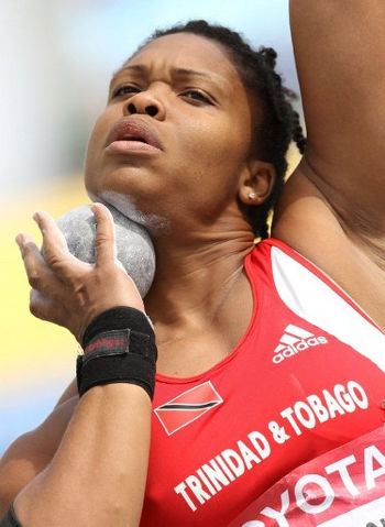 Photo: Trinidad and Tobago's Cleopatra Borel-Brown competes in the women's shot put qualification round at the IAAF World Championships in Daegu on 28 August 2011. (Copyright Adrian Dennis/AFP 2016/Wired868)