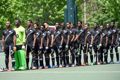 Photo: The Trinidad and Tobago National Under-21 Hockey Team prepares for action in the Toronto 2016 Pan American Men's Junior Hockey Championships.