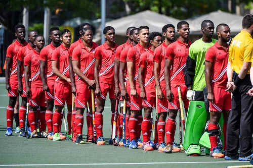 Photo: The Trinidad and Tobago National Under-21 Hockey Team prepares for action in the 2016 Pan American Men's Junior Hockey Championships in Toronto.