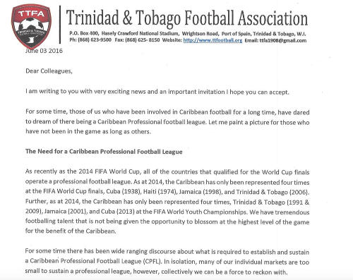 Photo: Trinidad and Tobago Football Association (TTFA) president David John-Williams invites the Caribbean's football presidents to a Trinidad meeting on 17 and 18 June 2016.