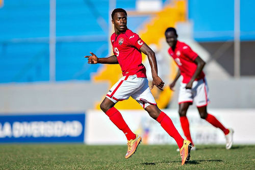 Photo: Trinidad and Tobago National Under-20 utility player Noah Powder (left) during action at the 2015 CONCACAF Under-17 Championship.  (Courtesy CONCACAF)