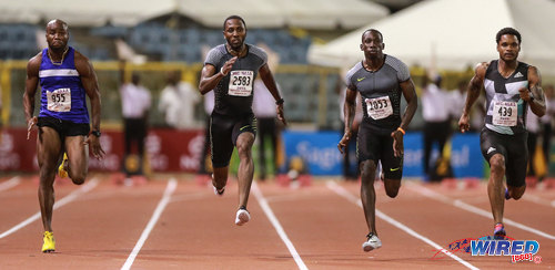 Photo: Trinidad and Tobago sprinters (from left) Emmanuel Callender, Richard Thompson, Rondell Sorrillo and Keston Bledman compete at the 100 metre final in the NAAA National Open Championships on 25 June 2016 at the Hasely Crawford Stadium in Port of Spain. Thompson won gold at the event followed by Sorrillo, Bledman and Callender respectively. (Courtesy Allan V Crane/CA Images/Wired868)