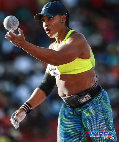 Photo: Trinidad and Tobago shot put champion Cleopatra Borel ponders her next throw at the 2016 NAAA National Championships. (Courtesy Allan V Crane/CAI Images/Wired868)