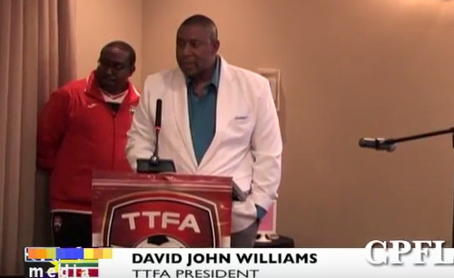 Photo: Trinidad and Tobago Football Association (TTFA) president David John-Williams (right) address Caribbean Football Union delegates during his CPFL meeting at the Marriott Hotel in Port of Spain on 17 and 18 June 2016. Guyana National Senior Team coach Jamaal Shabazz is at his side in full TTFA gear.