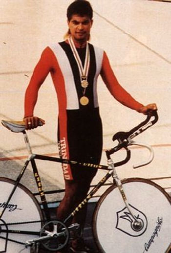 "Photo: Iconic Trinidad and Tobago cyclist Gene ""Geronimo"" Samuel during his heyday. (Copyright Caribbean Beat)"