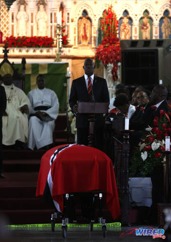Photo: Prime Minister Dr Keith Rowley (centre) speaks during the funeral service for late Prime Minister and PNM political leader Patrick Manning on 9 July 2016. (Courtesy Chevaughn Christopher/Wired868)