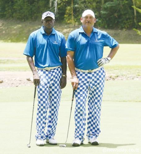 Photo: Businessman Andy Gomez-Burke (right) poses with fellow golfer Desmond Ambrose at the Cotton Tree Foundation Charity Golf competition.