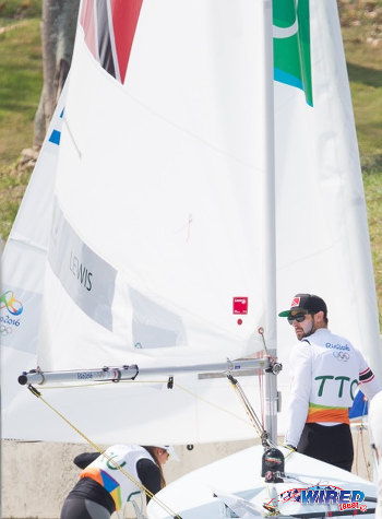 Photo: Trinidad and Tobago's Andrew Lewis gets ready to sail away at the Rio 2016 Olympic Games on 8 August 2016. (Courtesy Sean Morrison/Wired868)