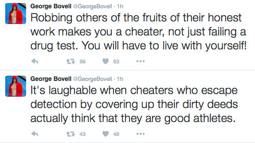 "Photo: George Bovell goes ""balls in"" on Twitter."