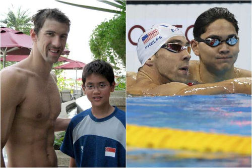 Photo: United States swim star Michael Phelps meets Singapore's Joseph Schooling as a child (left) and then in the pool for the 100 metre butterfly final on 13 August 2016, which Schooling won. Proof that Pharrell Williams isn't the only vampire on the loose.