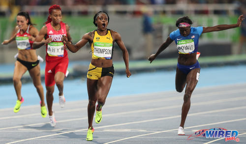Photo: Caribbean Queen! Jamaica's Elaine Thompson (second from right) crosses the finish line in the 200 metre final ahead of bronze medalist Tori Bowie (right) and Trinidad and Tobago's Michelle-Lee Ahye (second from left) in the Rio Olympic Games on 17 August 2016. (Courtesy Sean Morrison/Wired868)