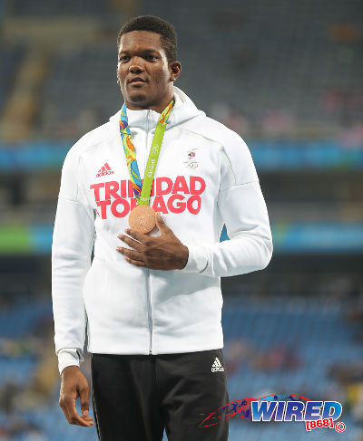Photo: Trinidad and Tobago's Keshorn Walcott shows off his bronze medal after finishing third in the Men's Javelin Throw Final at the Rio 2016 Olympic Games on 20 August 2016.  (Courtesy Sean Morrison/Wired868)