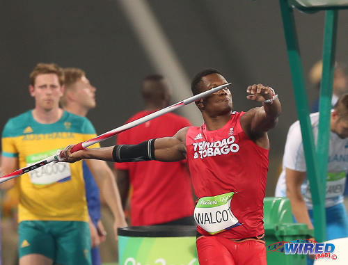 Photo: Trinidad and Tobago's Keshorn Walcott (right) prepares to throw during the preliminary round of the men's javelin competition at the Rio Olympics on 17 August 2016. (Courtesy Sean Morrison/Wired868)