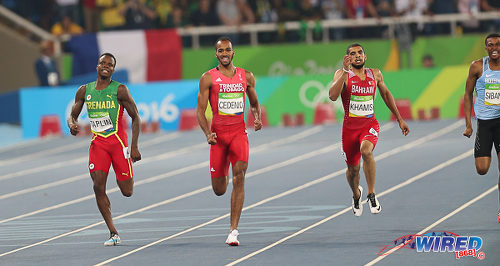 Photo: Trinidad and Tobago's Machel Cedenio (second from left) beats (from left) Grenada's Bralon Taplin, Bahrain's Ali Khamis and Botswana's Karabo Sibanda to the finish line in the Rio Olympics' 400 metre final on 14 August 2016. Cedenio finished fourth behind South Africa's Wayde Van Niekerk, Grenada's Kirani James and the United States' LaShawn Merritt. (Courtesy Sean Morrison/Wired868)