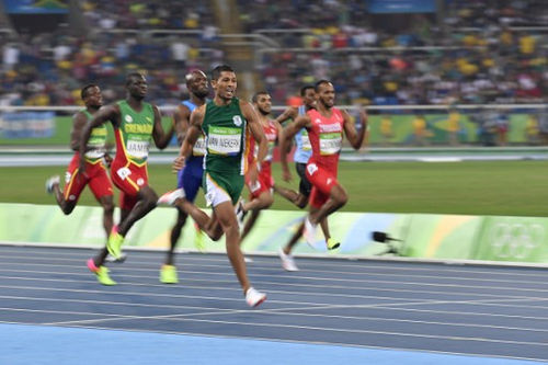 Photo: South Africa's Wayde van Niekerk (far left) pulls away from the pack in the Men's 400m Final at the Rio 2016 Olympic Games on 14 August 2016. (Copyright Fabrice Coffrini/AFP 2016/Wired868)