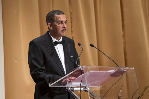 Photo: Trinidad and Tobago President Anthony Carmona takes the podium during a reception for China's President Xi Jinping in Port-of-Spain, Trinidad and Tobago, on 1 June 2013. He probably asked for tips on handling nosey journalists. (Copyright Frederic Dubray/AFP 2016)