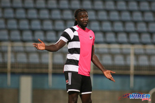 Photo: Central FC forward Kenwyne Jones looks on during Digicel Charity Shield action against Defence Force on 10 September 2016. Central won 3-1 from kicks from the penalty mark after a 2-2 regulation time draw. (Courtesy Chevaughn Christopher/Wired868)