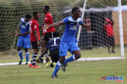 Photo: Fyzabad Secondary striker Natinni Jones celebrates his goal against Pleasantville during their 4-2 SSFL Premier Division win at the Mahaica Oval on 17 September 2016. (Courtesy Sean Morrison/Wired868)