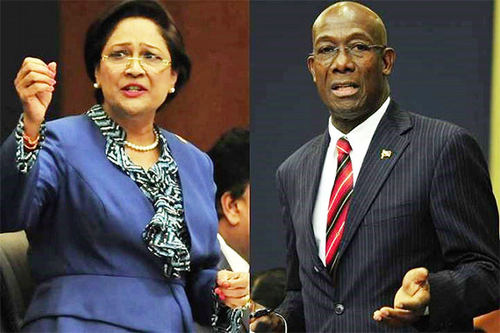 Photo: Trinidad and Tobago Prime Minister Dr Keith Rowley (right) and Opposition Leader Kamla Persad-Bissessar SC. (Copyright Stabroek News)