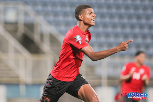 Photo: Trinidad and Tobago National Under-17 Team striker Jaydon Prowell makes a point after his equalising goal against Bermuda in 2017 World Cup qualifying action at the Ato Boldon Stadium, Couva on 18 September 2016. (Courtesy Chevaughn Christopher/Wired868)