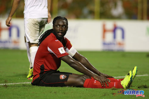 Photo: Trinidad and Tobago Kenwyne Jones takes a breather during Russia 2018 World Cup qualifying action at the Hasely Crawford Stadium in Port of Spain on Friday 2 September 2016. The Soca Warriors and Guatemala played to a 2-2 draw. (Courtesy Chevaughn Christopher/Wired868