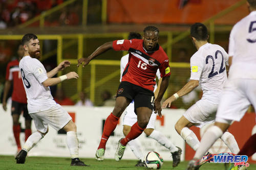 Photo: Trinidad and Tobago winger Levi Garcia (centre) takes on Guatemala midfielders Jean Marquez (left) and Rodrigo Saravia during Russia 2018 World Cup qualifying action at the Hasely Crawford Stadium in Port of Spain on Friday 2 September 2016. Both teams played to a 2-2 draw. (Courtesy Chevaughn Christopher/Wired868)