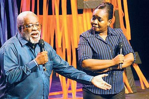 "Photo: Late activist and actor Hal ""Uncle Roy"" Greaves (left) shares the stage with ""Gloria."""