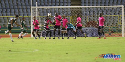 Photo: W Connection defender Alvin Jones (left) cracks a free kick towards goal during 2016/17 Pro League action against Central FC at the Hasely Crawford Stadium in Port of Spain on 4 October 2016. (Courtesy Sean Morrison/Wired868)