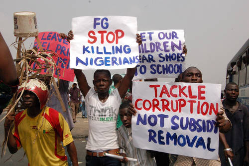 Photo: Nigeria protests the imminent removal of their fuel subsidy.