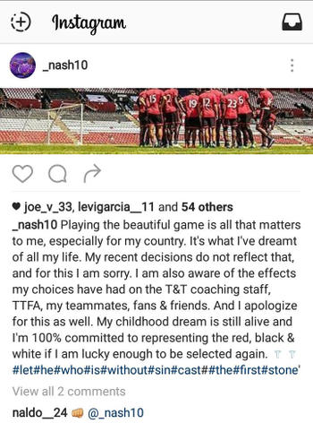 Photo: Trinidad and Tobago midfielder Kevin Molino apologises for breach of discipline on Instagram on 18 October 2016.