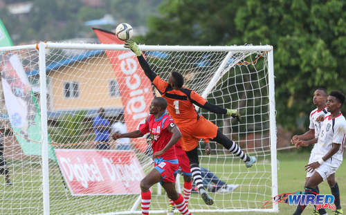 Photo: St Ann's Rangers goalkeeper Cleon John (centre) tips the ball overbar during Pro League action against Morvant Caledonia United at the Barataria Recreation Ground on 9 October 2016. (Courtesy Sean Morrison/Wired868)