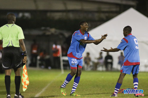 Photo: St Ann's Rangers left back Kareem Baptiste (left) congratulates goal scorer Jomoul Francois during Pro League action against Point Fortin Civic on 30 October 2016 at Mahaica Oval. Rangers won 4-0. (Courtesy Chevaughn Christopher/Wired868)