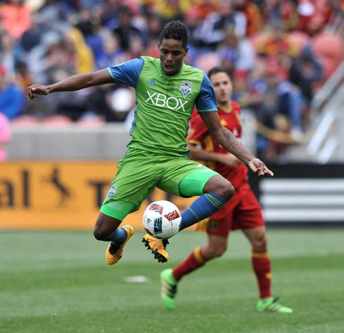 Photo: Seattle Sounders wing back Joevin Jones (left) controls the ball during MLS action against Real Salt Lake at Rio Tinto Stadium in Sandy, Utah on 12 March 2016. (Courtesy AFP 2017/Gene Sweeney Jr)