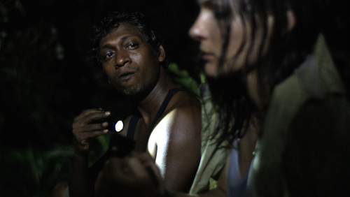 Photo: Actors Lisa Hirschmann (right) and Arnold Goindhan in a scene from The Cutlass.